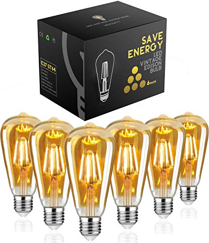 Edison Glühbirne E27,Woowtt Edison Vintage Glühbirne,4W LED Glühbirne,Dimmbar LED Filament Lampe Nostalgie,Antike Amber Warm Licht Retro Edison Birne,400 Lumen,ST64,220V,4W(40W Äquivalent) - 6 Stück -