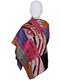 Indiweaves Vintage Silk Hand Quilted Kantha Hand Work Dupattas Reversible Scarves Scarf Patchwork Multicolor(80200... - B0767M9D9T