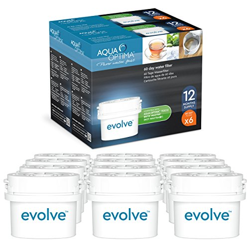 Lot de 12 filtres à eau 60 jours Aqua Optima (2 ans) compatible avec BRITA Maxtra