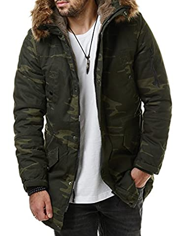 Burocs Herren Camouflage Parka Winter Mantel Lang Jacke Fell Kapuze Khaki Camo BR1628, Größe:M, Farbe:Camouflage Green