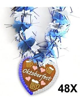 48x Hawaiikette mit Lebkuchenherz für die lustige Oktoberfest-Party Blumenkette für Oktoberfest Hawaii-Kette Bierfest...