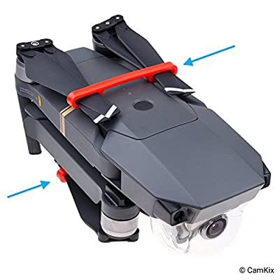 CamKix Propeller Lock Kit compatible with DJI Mavic Pro/Platinum (2x Red + 2x Black) - Keeps Both Pairs of Propellers Locked in a Fixed Parallel Position - Essential Transport Protection