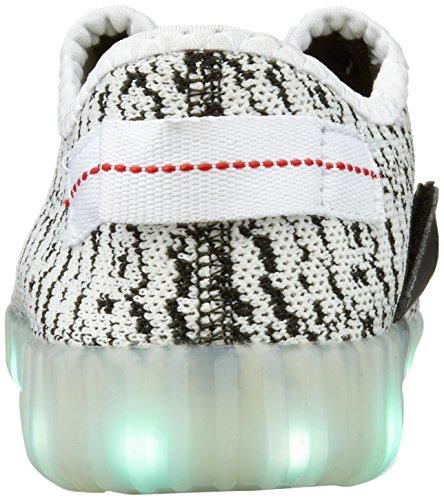 iPretty Sportschuhe mit Leucht LEDs Unisex Sneakers 7 Farbe Blinken USB Laden Laufschuhe Outdoorschuhe für Damen und Herren Weiß