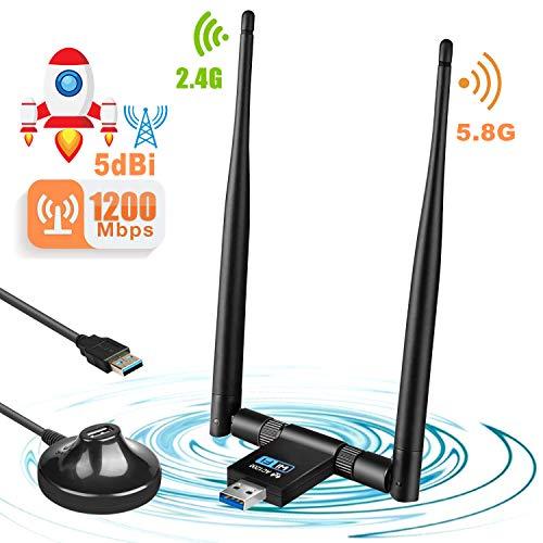 Letmetry WLAN Stick,1200 Mbps USB WiFi Adapter Dual Band(5.8G/867Mbps+2.4G/300Mbps) USB 3.0 WLAN Antennen für Windows XP/Vista/7/8/10/Mac OS (Wlan 3 Antenne)