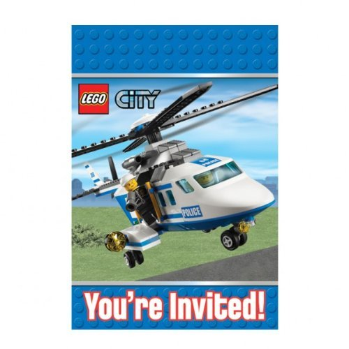 Lego City Party Invitation et enveloppes X 8