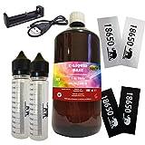Laguna 1 Liter E Liquid Base 50-50 + 2 60ml Chubby Mischflaschen + 4 Akkusleeves + 1 MC1 Ladegerät OHNE NIKOTIN Set