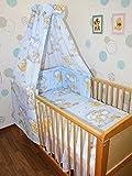 Baby Bettset -6 tlg- mit Bettwäsche Nestchen Vollstoff Himmel Bettausstattung D23