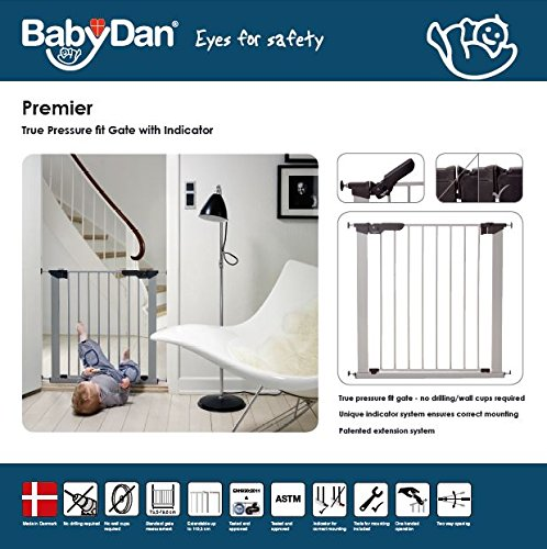 BabyDan Premier Indicator Stair Gate Pressure Fit 73 - 80 cm silver - Collection 2015  True pressure fit safety gate Covers openings from 28.9 up to 46.9 inches with separate available extensions Extra safety pressure indicator built into the slim line handle 4