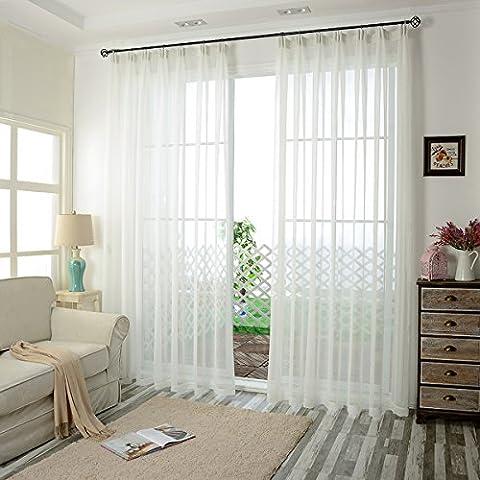 Tendance Sheer Rideaux Panneaux Voilage Couleur Solide pour porte fenêtre balcon flottant, beige