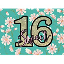 "Sweet 16: Cherry Blossom Guest Book | Message Book | Keepsake | Milestone Birthday Celebration | Blank & Lined Pages | 8.25"" x 6"" 