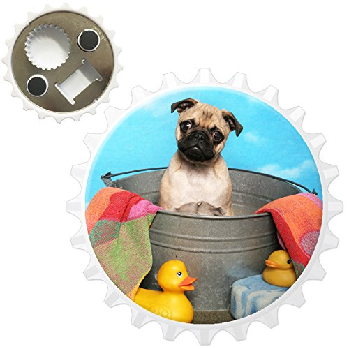 Carlino Pugs Love Little Cani apribottiglie magnete per frigorifero, Bath Time Pug & Rubber Ducks, (Pug Christmas Stocking)