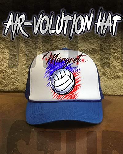 Mythic Airbrush Personalisierte Airbrush Volleyball Snapback Trucker-Mütze Eine Grösse passt allen Schwarzer Hut