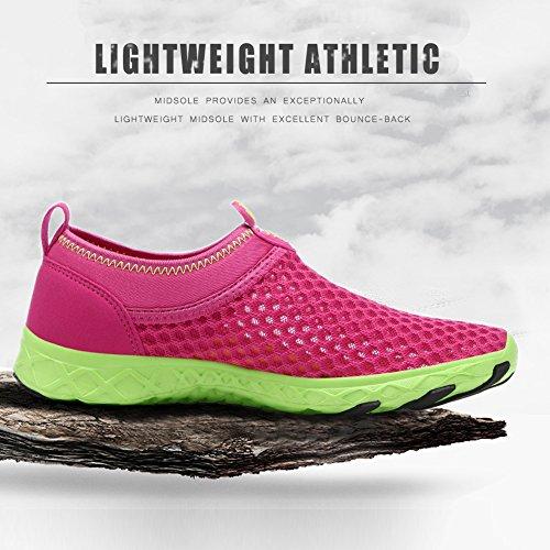 Qiucdz Le scarpe da acqua Uomo e Donna leggero Athletic secchezza rapido Aqua Mesh Slip-on scarpe da passeggio Red Rose