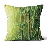 Soleil d'ocre Coussin déhoussable 40x40 cm Bambou, Polyester, Vert