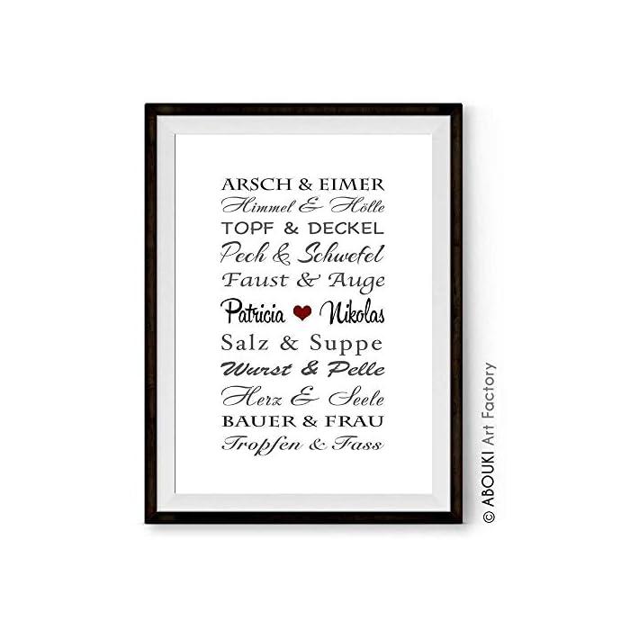 Traumpaar LUSTIG ABOUKI® Kunstdruck [ideales Geschenk] - moderne Deko - Design Poster Bild » mit Namen personalisiert « Geschenkidee Hochzeit Valentinstag Jahrestag für Sie Ihn - Holz-Rahmen optional