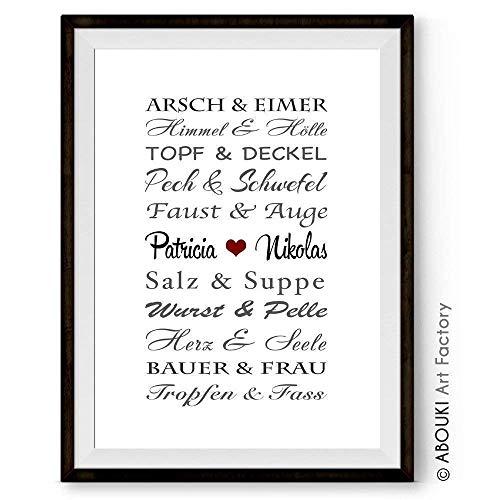 ABOUKI Kunstdruck Traumpaar LUSTIG personalisiert mit Wunschnamen - ungerahmt - persönliche Geschenk-Idee (Bräutigam, Geschenk Für Braut)