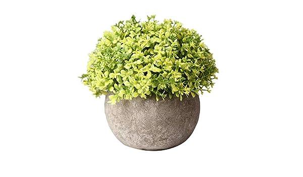 fleurs roses bureau jardin maison Aiskki Lot de 3 plantes artificielles Bonsa/ï avec pot gris pour mariage
