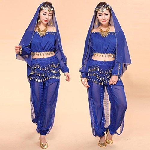 Culater® Donne Di Danza Del Ventre Costumi Indiani Set Dancing Pantaloni Vestito Blu