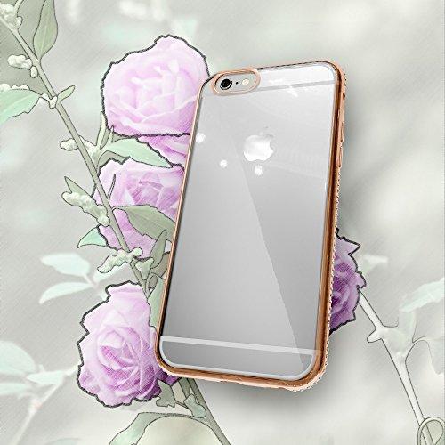 iPhone 6 6S Coque Silicone de NICA, Ultra-Fine Housse Transparente avec Strass Contour de Protection Cover Etui Mince Clear Bumper Case pour Telephone Portable Apple iPhone 6S 6, Couleur:Gold Or Gold Or
