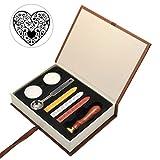 Mogoko - Kit vintage para envío de cartas con sellos personalizados - Incluye: 1x sello para sellar + 3x cera de lacre + 2x cera + 1x cuchara para lacrar - Ideal para regalo, color Corazón