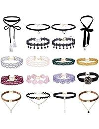 MingJun 18 pièces multicolores en velours et en cuir collants en collier  multicouches Ensembles de bijoux gothiques réglables… 0b1a7693076f