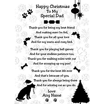 Daddy Personalised Christmas Card from Cat Dad from the cat. Cat Mummy Mum