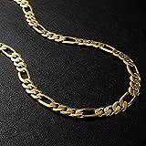 سلسلة سلسال قلادة ذهب مطلي تصميم فيجارو مناسب للرجال والنساء - 60سم
