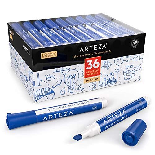 ARTEZA Whiteboard-Marker | Marker-Set mit 36 Whiteboard-Stiften in Blau | Trocken Abwischbar von Magnettafeln | Kreidemarker mit Keilspitze für Zuhause, Büro oder Schule
