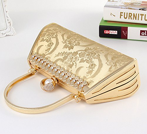 Tina Women's Embossed Diamond Studded Crystal Beaded Evening Clutch Handbag Gold Gold