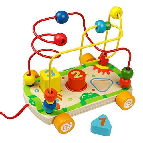 Perlen-Labyrinth Achterbahn,Auto nachziehen, hölzerne Form Sorter Nummer für Kinder 18M + (Runde Perlen-roller)