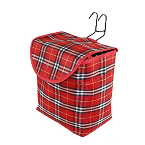 10L klappbare Tragekorb Tasche für Fahrrad-Lenkerlagerkorbträger Solide Gitter Fahrrad Eimer mit Deckel Rot