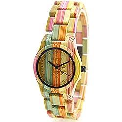 Rtimer BEWELL Frauen-Uhr, 100% Bambus, Umweltfreundliche Handgemachte Natürliche Holz, Quarz-Uhren, Bunt