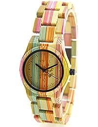 Reloj de las mujeres de FunkyTop Relojes de cuarzo de madera natural hechas a mano del bambú del 100%, multicolor