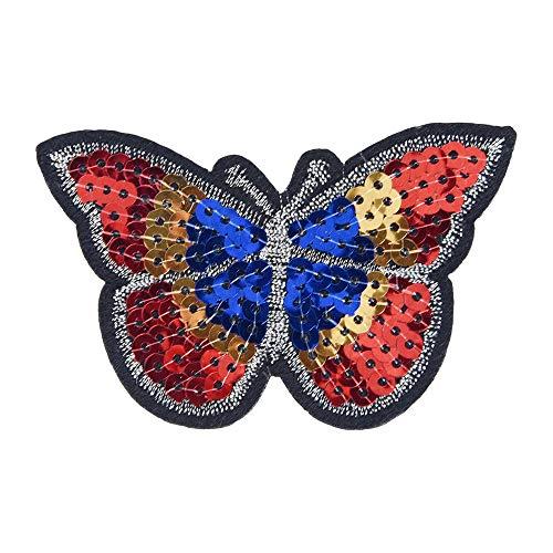 it Tier-Stickerei, zum Aufnähen und Aufnähen, für Kleidung, Taschen, Kleid, Pailletten Color butterfly 5 * 8cm ()