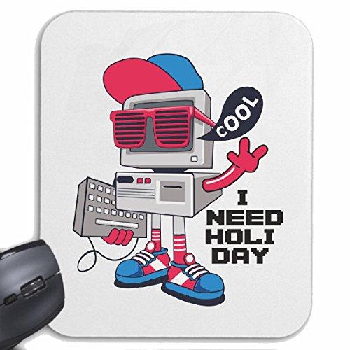 Mousepad (Mauspad) I NEED HOLI DAY COMPUTER MIT TASTATUR SONNENBRILLE UND BASE CAP TECHNO JAZZ FUNKY SOUL TRANCE FESTIVAL HOUSE HIPHOP HIP HOP DJ für ihren Laptop, Notebook oder Internet PC