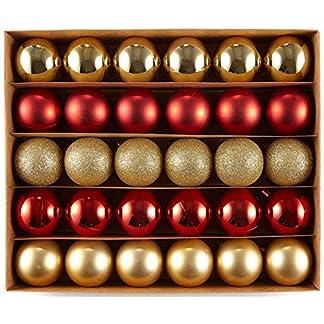 HEITMANN DECO Navidad – Juego de 30 Bolas de Navidad – Decoraciones navideñas Rojas y Doradas para Colgar del árbol de Navidad – Surtido de Bolas de plástico Resistentes a la Rotura