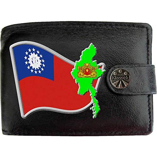 Myanmar Birmanisch Flagge Karte Wappen Bild auf KLASSEK Marken Herren Geldbörse Portemonnaie Echtes Leder RFID Schutz mit Münzfach Zubehör Geschenk mit Metall Box