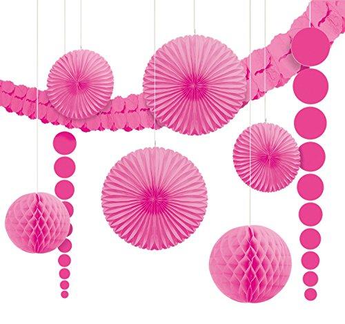 Amscan 243568-103-55 - Hängedekoration, 9 teilig Set, rosa