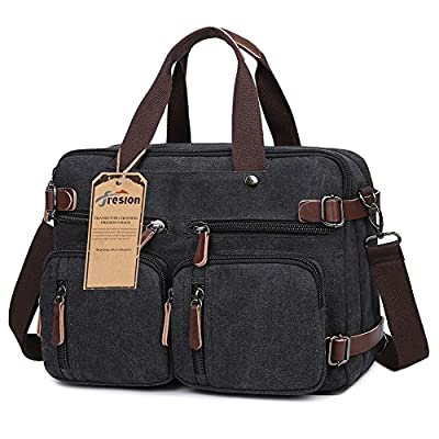 Fresion 3 in 1 Vintage Canvas Hybrid Backpack Retro Style Messenger Bag Laptop Handbag for Men Women - Canvas Leather