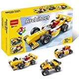Babytintin Architect Series 3 In 1 Educational Racing Car Blocks Learning Bricks Toy For Kids (Super Racer - 121 Pcs) (3106)