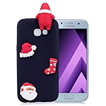 "Samsung Galaxy A3 2017 Coque Silicone, Coque Samsung Galaxy A3 2017 Silicone, Etui Samsung Galaxy A3 2017 Protection Coque, Nnopbeclik® ""A320F"" (4.7 Pouce) Cadeau de Noël / Noël Coque 3D Cartoon Charmant en Coloré Style Backcover Doux Soft Housse Protection Antiglisse Anti-Scratch Etui ""NOT FOR SAMSUNG GALAXY A3 2016/2015"" - [Noir2]"