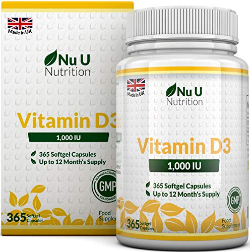 Vitamine D3 1000 UI, 365 Softgel...