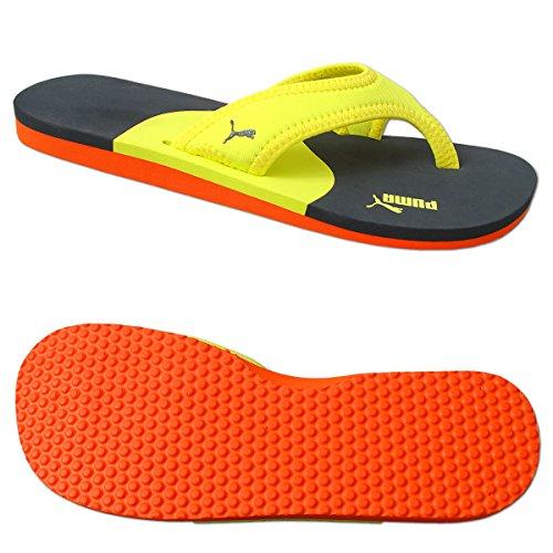 Puma Why Flip Zehentrenner Zehensandale Sandale Badeschuhe Unisex (37, gelb-blau-orange)