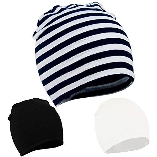Zando per bambini Bambini Cute Lovely in morbido cotone lavorato a maglia berretti Cap D 3 Pack-Mix Color3 Taglia unica