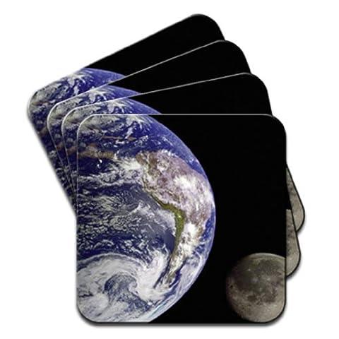 Planète Terre avec Lune dans l'espace Lot de 4 dessous-de-verre en bois