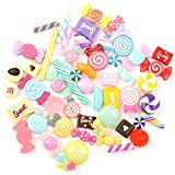 HKEPS 30Pcs Assortiti Cute Candy Dessert Resina ciondoli fette per Artigianato Accessori a Mano Capelli Gioielli in Caso di Fare Decor