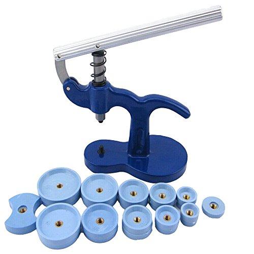 Uhrwerkzeug Einpresswerkzeug,Gehäuseschließer Einpresswerkzeug Uhrendeckelpresse ,Uhrenschließer Gehäuseschließer mit 12 Druckplatten Kunststoffeinsätze