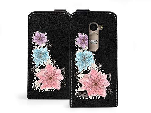 etuo Handyhülle für LG Leon 4G LTE - Handytaschen, Leder Klapphülle - DREI Pastell Blumen