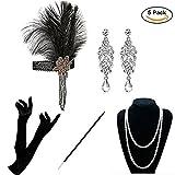 KQueenStar Damen Accessoires Set Halskette Handschuhe Zigarettenhalter Stirnband 20er Jahre 1920s Charleston Gatsby Retro Stil Kostüm Ball (Black Set)