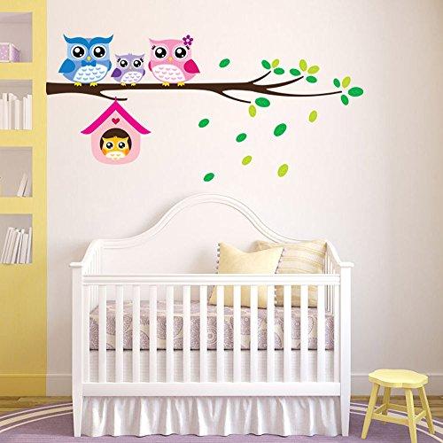 Cute Owls Family Tree parete autoadesivi smontabili per bambini decorazione delle decalcomanie per fondale da letto Soggiorno - Family Tree Parete